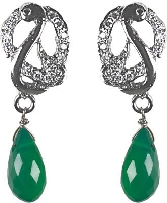 Pearl Paradise Peacock Design. Onyx, Swarovski Crystal Silver Drop Earring