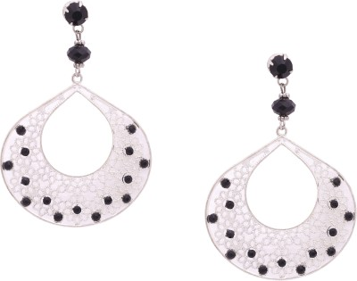 Sankisho Big Silver Black Drop Metal, Alloy, Glass Drop Earring