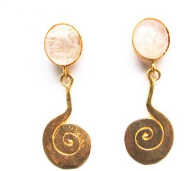 Bhrti semi precious Gold plated Quartz Brass Dangle Earring