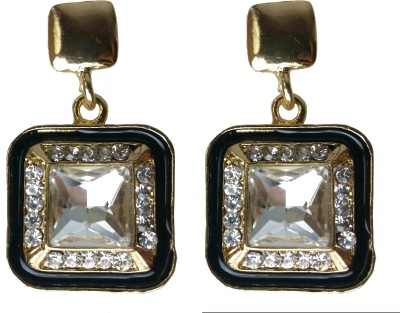 Modish Look Black Square Traditional Brass Drop Earring