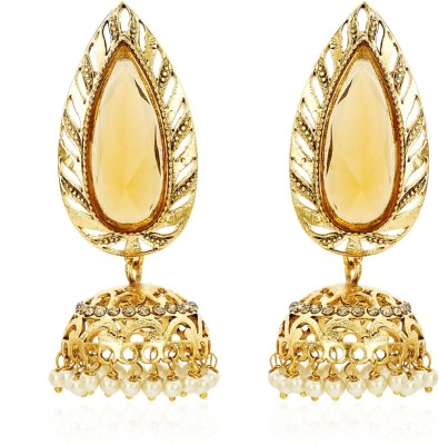 BeBold Pearl Stone Brass Jhumki Earring at flipkart