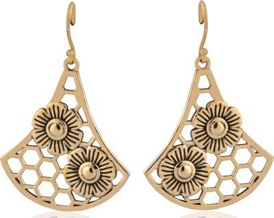 ZeroKaata Daisy on a Honeycomb Brass Dangle Earring