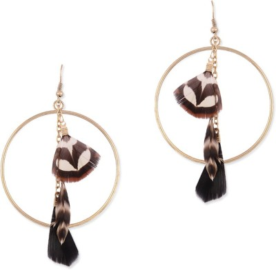 Oomph Gold & Brown Feather Fashion Jewellery for Women, Girls & Ladies Metal Drop Earring