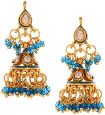 Gehnamart Stylish Blue Beads Alloy Jhumki Earring