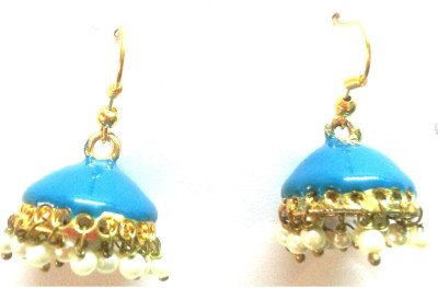 Kshitij Jewels Meenakari- Azure Color of Heaven Alloy Jhumki Earring