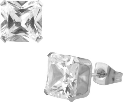 Inox Jewelry 3mm Classic Princess Cut Cubic Zirconia Stainless Steel Stud Earring