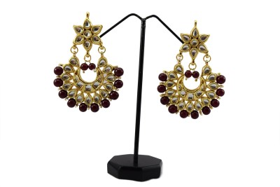 Bharat Sales Bollywood designer antique earrings with pearls Cubic Zirconia Copper Chandelier Earring