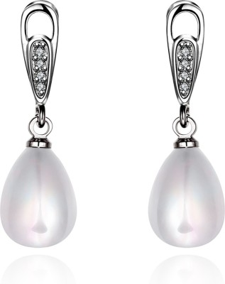 iSweven Pearl Silver Plated 2015 Latest Fashion Luxury jewelry ED2576 Zircon Alloy Drop Earring