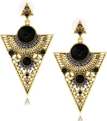 Spargz Fashionable Black Jeometric Alloy Drop Earring