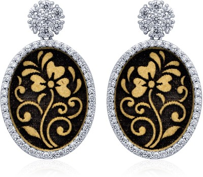 Navvya Wooden Collection Cubic Zirconia Silver Drop Earring