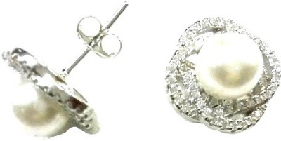 Vummidi Bangaru Chetty & Sons Dazzling Pearl Sterling Silver Stud Earring
