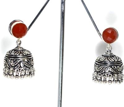 Anavaysilver Ear058 Carnelian Silver Jhumki Earring