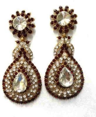 Aarnaa La Trendz Marron Daimond Studed Alloy Drop Earring