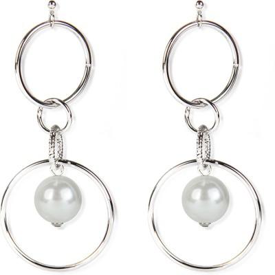 Aimez Silverish Ring Pearl Metal Drop Earring