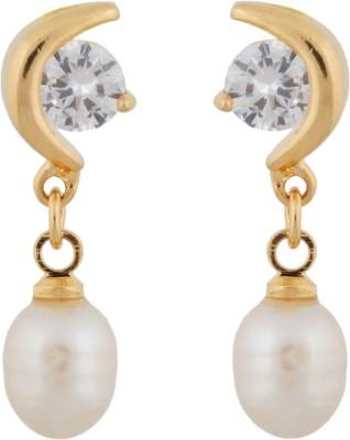 Janki Jewellers Half Moon Pearl Alloy Drop Earring