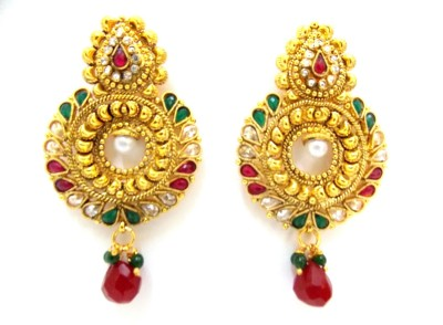 Red Gold Jalwa22 Metal Drop Earring