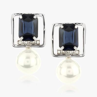 Shamoda Black Stone & Pearl Metal Dangle Earring