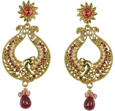 Indowave Traditional Peacock Alloy Drop Earring