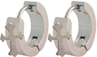 Men Style Jesue Cross Stainless Steel Hoop Earring