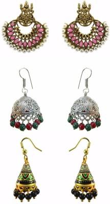 Chhayamoy Laxmi Chandbali & Oxidised Jhumki & Meenakari Alloy Earring Set
