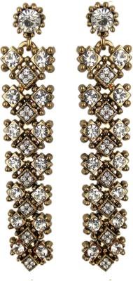 000 Fashions Black Brass Metallic Crystal Alloy Drop Earring