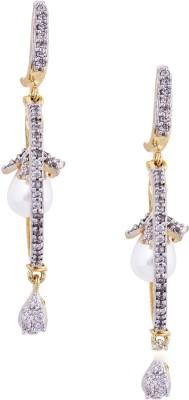Giftmania American Diamond P Wish Pearl Brass Drop Earring