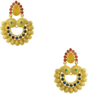 Orniza Rajwadi Earrings in Multi-Colour Color with Golden Polish Brass Drop Earring