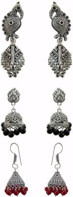 Chhayamoy Oxidised Silver Jhumki Bird Alloy Earring Set