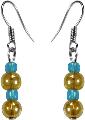 Crystals & Beads Gold Round Crystal & Turquoise Blue Colour Crystal Acrylic, Glass, Crystal Dangle Earring