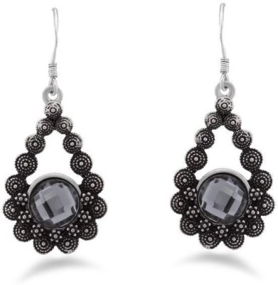 Jazz Jewellery Beautiful Designer Earrings with Black Colour Stone Alloy Drop Earring