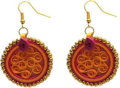 Charvee Two Toned Circular with Gold Beaded Ring Paper Dangle Earring