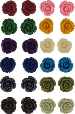 Janki Jewellers Beautiful Multi Colour Rose Earrings Plastic Stud Earring