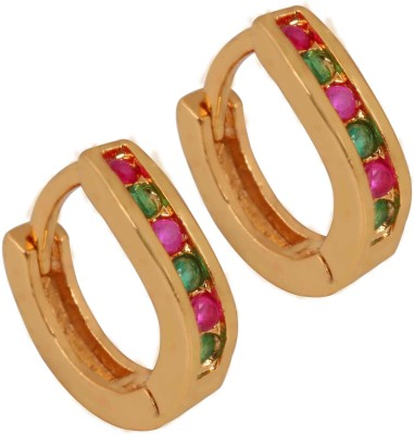 SuperShineJewelry Spring Sparkle Ruby Brass Huggie Earring