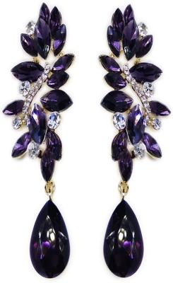 000 Fashions Purple Sapphire Crystal Leaf Alloy Drop Earring