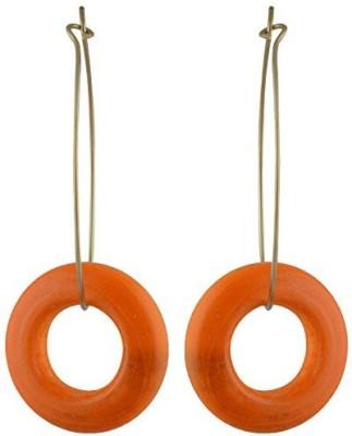 TrinketsANDTreasures Orange Wooden Ring Wood Hoop Earring