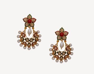 Oars Rajwada Style Alloy, Acrylic Chandbali Earring