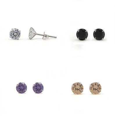 Fab Fashion Round Sterling Silver Earring Set