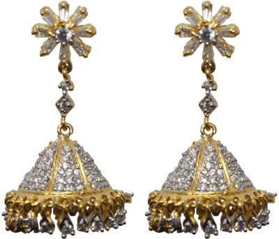 Sheetal Jewellery Golden Cubic Zirconia Brass, Alloy Jhumki Earring