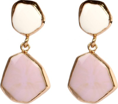 Divitha Allure Pritty me pink and white stone hangings. Alloy Drop Earring