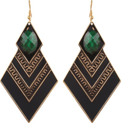 Gracent Black and Green Diamond shaped Metal Dangle Earring