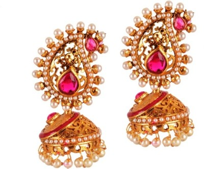 Ratnaraj India South Indian Style Made with Antique Pearl & Stone Copper Jhumki Earring