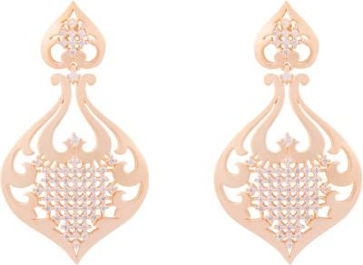 Jewel House Matt Finish Cubic Zirconia Copper Chandelier Earring