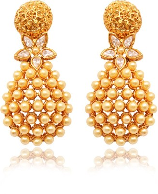 Ratnakar Gold top with pearl & stone earing Alloy Drop Earring