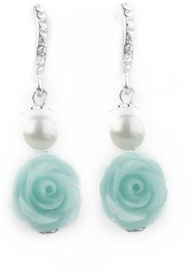 Jewelfin Green Rose Alloy Drop Earring
