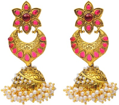 Jillcart Pink Floral Earring Jhumka With Shell Pearl Ruby Copper Jhumki Earring
