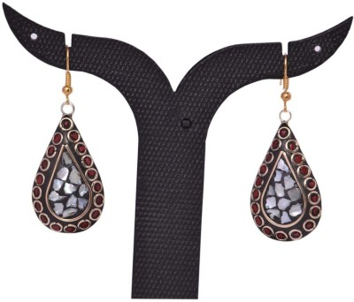 Tradition India TI64 Handmade Designer Stone Studded Traditional Lac Worked Brass Drop Earring