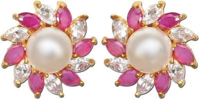 Enzy Red And White Cz & Golden Plated Tops Alloy Stud Earring
