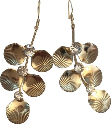 Gliteri Golden Shells With Crystals Alloy Dangle Earring