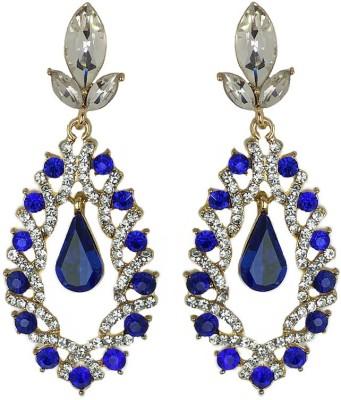 000 Fashions Dark Alchemy Blue Crystal Articulated Clip-On Alloy Alloy Drop Earring