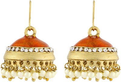 Naveli Gold Plated Pearl Shiny Orange Brass Drop Earring